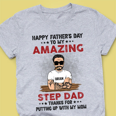 Happy Father's Day To Bonus Dad Old Man, Personalized Shirt, Father's Day Gift