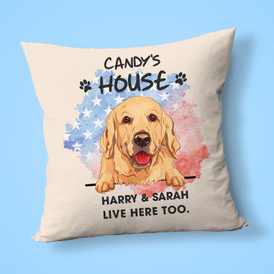 Welcome To The Dog House Pillow, Personalized Pillows, Custom Gift for Dog Lovers