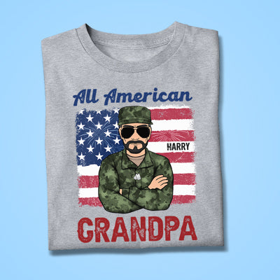 All American Dad or Grandpa Old Man, July 4th, Personalized Shirt, Father Gifts