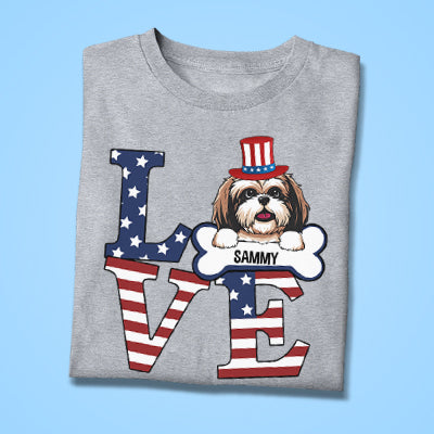 Love, 4th Of July, Gift For Dog Lover, Custom Shirt For Dog Lovers, Personalized Gifts
