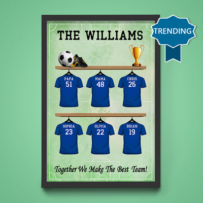 Personalized Family The Best Team Poster, 6 to 12 Options, Customized Family Gifts