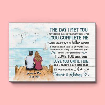 Personalized The Day I Met You Couple Canvas, Beach Dock, Premium Canvas Wall Art