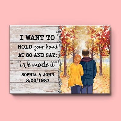Personalized I Want To Hold Your Hand Canvas, Autumn Fall, Premium Canvas Wall Art