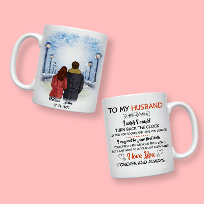 To my husband I wish I could turn back the clock street customized mug, Anniversary gifts, Personalized gift for him