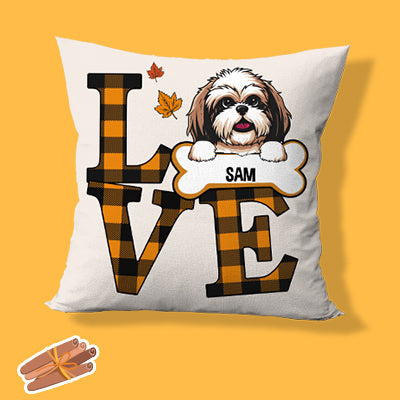 Love Autumn, Personalized Pillows, Custom Gift for Dog Lovers