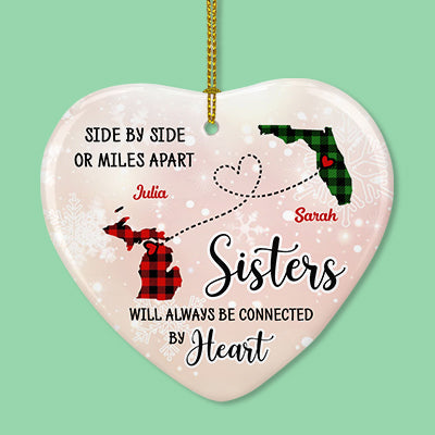 Sisters Will Always Be Connected by Heart, Personalized State Ornaments, Custom Holiday Gift