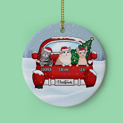 Christmas and Cats, Personalized Circle Ornaments, Custom Gift for Cat Lovers