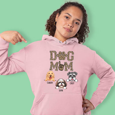 Dog Mom, Leopard, Personalized Custom Hoodie, Sweater, T shirts, Christmas Gifts for Dog Lovers