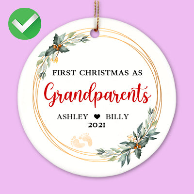 First Christmas as Grandparents, Personalized Ornaments, Custom Holiday Ornament