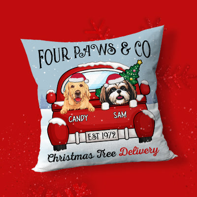 Christmas Tree Delivery, Personalized Pillows, Custom Gift for Dog Lovers