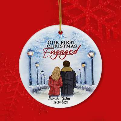 Our First Christmas Engaged, Personalized Circle Ornaments, Anniversary Gifts