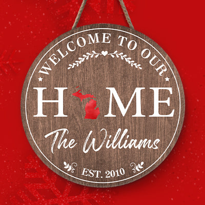 Welcome To Our Home Custom Family Name, Personalized Round Wood Sign