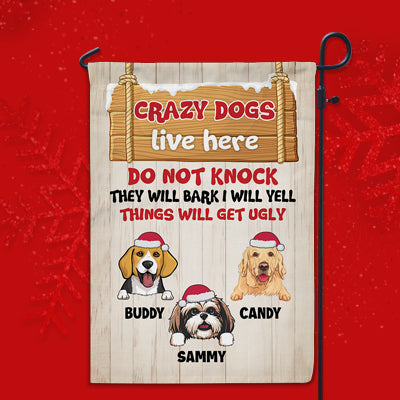 Crazy Dogs, Custom Flags, Christmas Printing Dog Flags, Personalized Dog Decorative Garden Flags