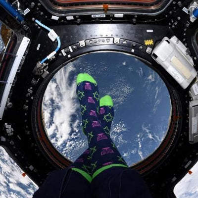 An astronaut once celebrated Hanukkah from space with festive socks