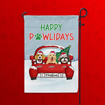 Happy Pawlidays, Custom Flags, Christmas Printing Dog Flags, Personalized Dog Decorative Garden Flags