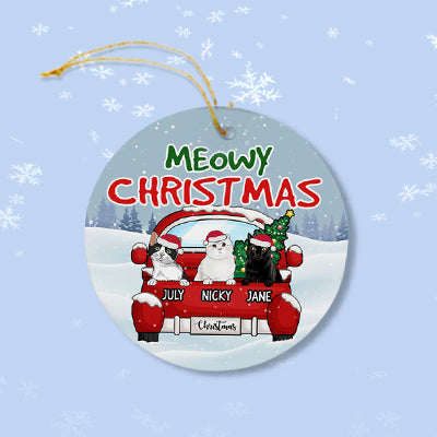 Meowy Christmas, Personalized Circle Ornaments, Custom Gift for Cat Lovers