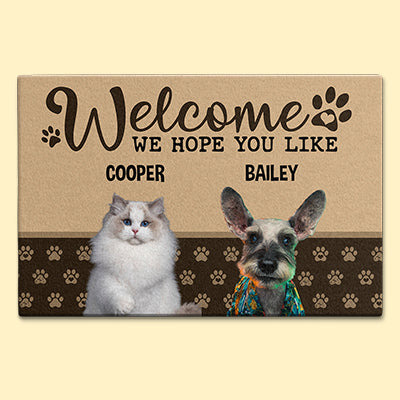 We Hope You Like, Custom Photo Doormat, Gift For Pet Lovers, Personalized Doormat, New Home Gift