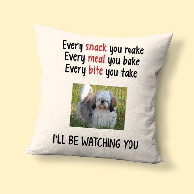 Snack Meal Bite, Custom Photo, Personalized Pillows, Gift for Dog Lovers