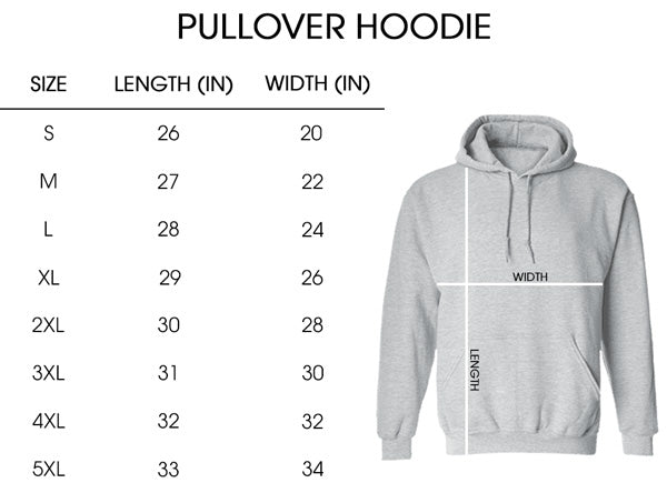 Sizing chart_Pullover hoodie