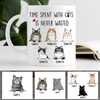 Time Spent With Cats Is Never Wasted, Custom Coffee Mug, Personalized Gifts for Cat Lovers