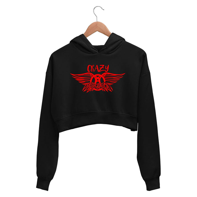 Aerosmith Crop Hoodie - Crazy Crop Hooded Sweatshirt for Women The Banyan Tee TBT