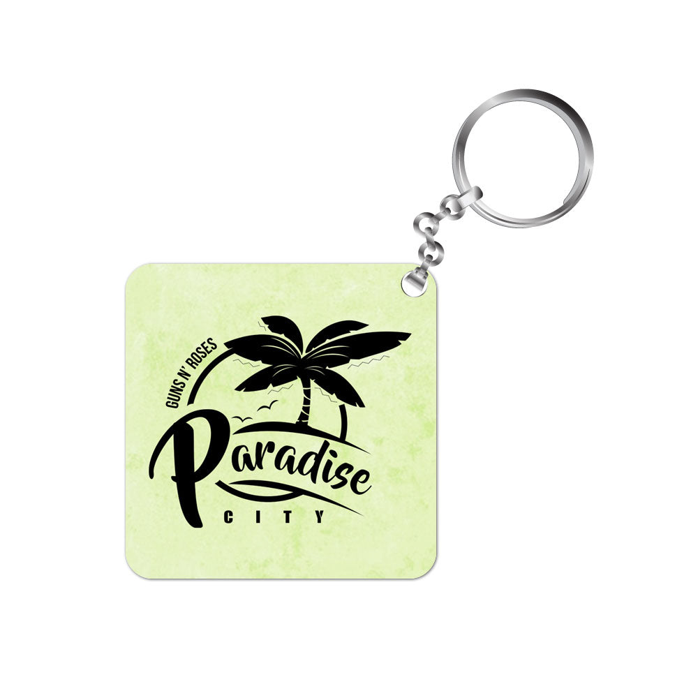 guns n roses keychain music band metal rock paradise city