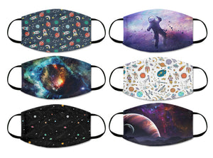 printed mask combo space stars astronaut rockets sky stars