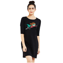 t-shirt dress black superwoman