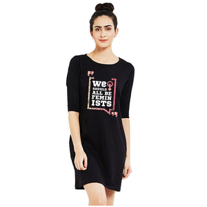 t-shirt dress black we should all be feminists
