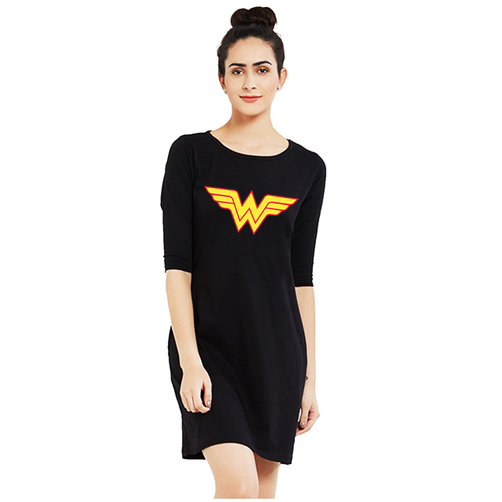 t-shirt dress black wonder woman