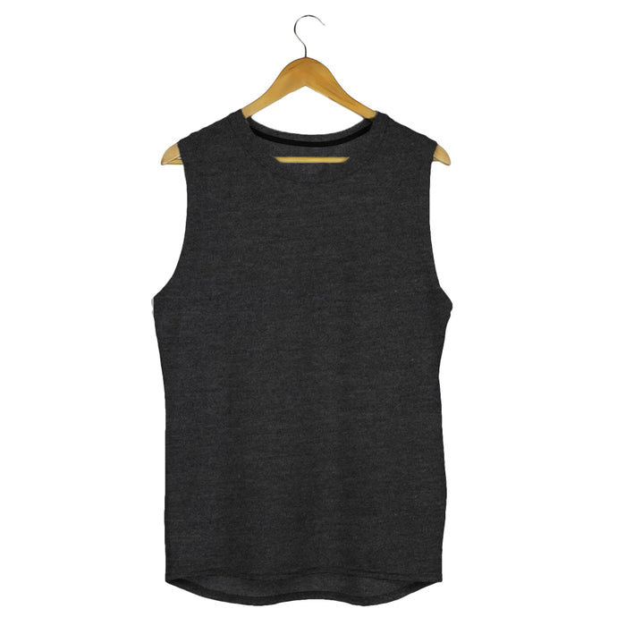 sleeveless t shirt gym vest charcoal melange by the banyan tee india gym tshirts by tbt basics