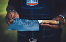"Load image into Gallery viewer, Moe Cason Signature 9"" Meat Cleaver – Ebony or Italian Olive Wood Handle"