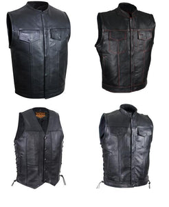 Men's Best Motorcycle Vests and MC vests with dual concealed carry in blue or black denim or the best leather, the best brands at the best prices and service