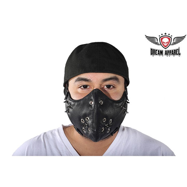 best-motorcyle-vest - Black Leather Biker Face Mask With Spikes - Club Vest Biker Motorcycle Apparel & Accessories - misc