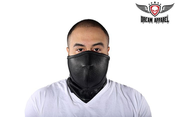 Black Leather Biker Face Mask
