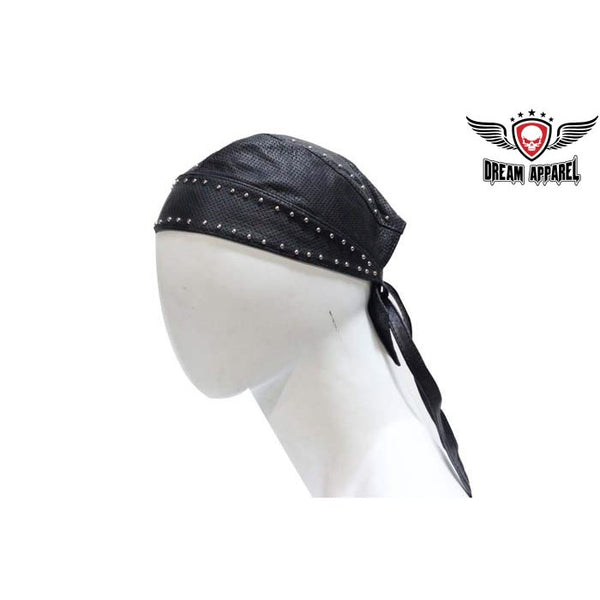 best-motorcyle-vest - Leather perforated  Biker Skull Cap With Studs - Club Vest Biker Motorcycle Apparel & Accessories - misc