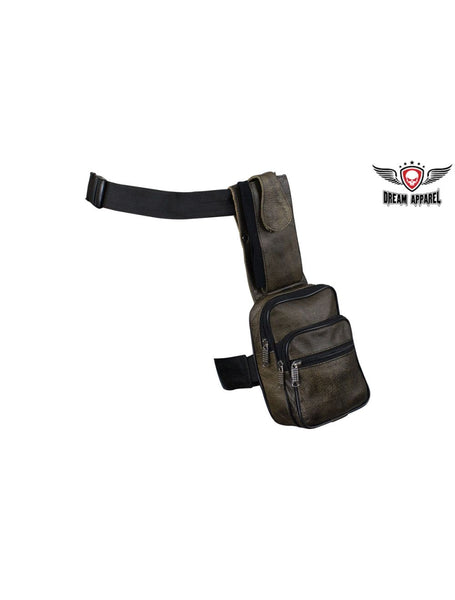 Brown Premier Leather Thigh Bags with Gun Pocket