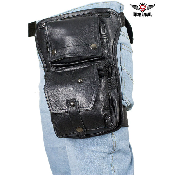 Premier Black Leather Multi Pocket Thigh Bags with CCW Pocket