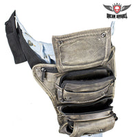 best-motorcyle-vest - Distressed Brown Leather Multi Pocket Thigh Bags with Gun Pocket - Dream Apparel® - Wallets Chains Belt-loop Purses Bags and Hip-bags