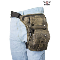 Distressed Brown Leather Multi Pocket Thigh Bags with Gun Pocket - Club Vest Biker Motorcycle Apparel & Accessories