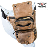 best-motorcyle-vest - Premier Brown Leather Multi Pocket Thigh Bags with CCW Pocket - Dream Apparel® - Wallets Chains Belt-loop Purses Bags and Hip-bags