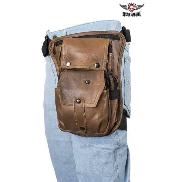 Premier Brown Leather Multi Pocket Thigh Bags with CCW Pocket