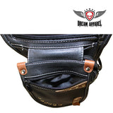 best-motorcyle-vest - Naked Cowhide Leather Thigh Bag W/ Gun Pocket - Black & Touch Of Brown - Dream Apparel® - Wallets Chains Belt-loop Purses Bags and Hip-bags