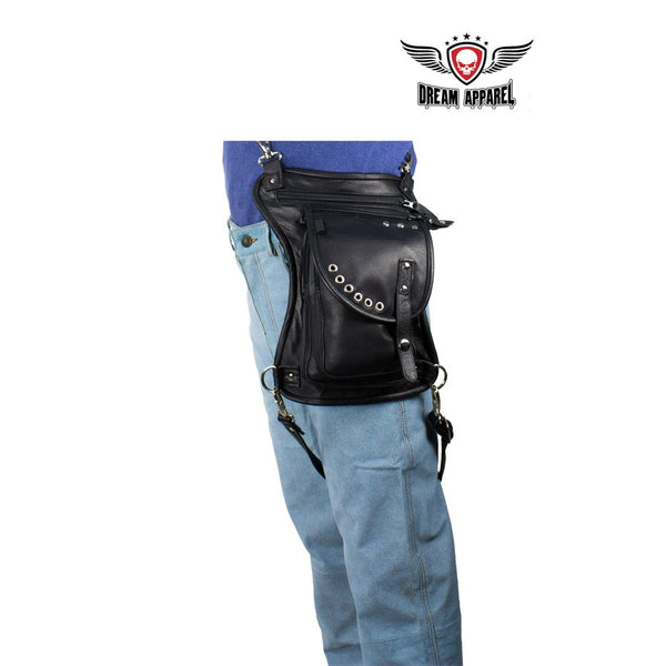 best-motorcyle-vest - Black Naked Cowhide Leather Thigh Bag W/ CCW Pocket - Dream Apparel® - Wallets Chains Belt-loop Purses Bags and Hip-bags