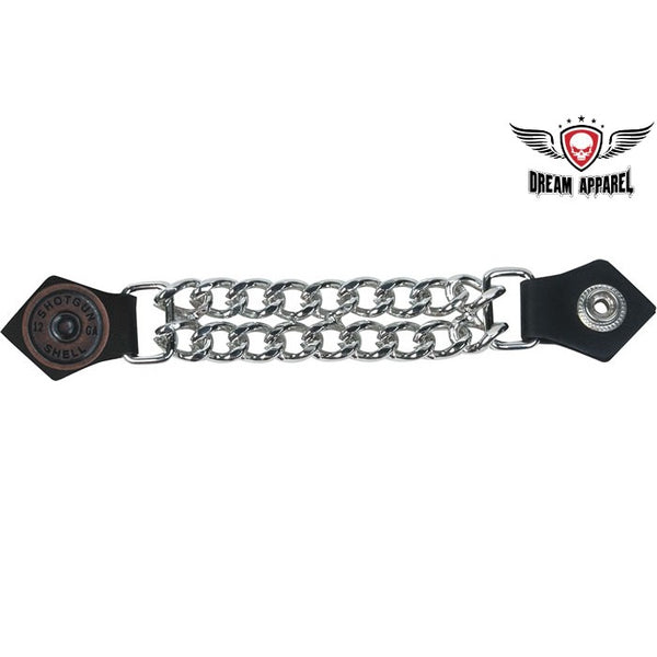 best-motorcyle-vest - Shotgun Shell Leather Vest Extender W/ Chrome Chain - Dream Apparel® - vest extenders