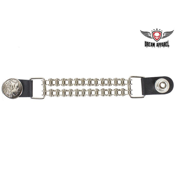 Double Chain Indian Head Motorcycle Vest Extender - Club Vest Biker Motorcycle Apparel & Accessories