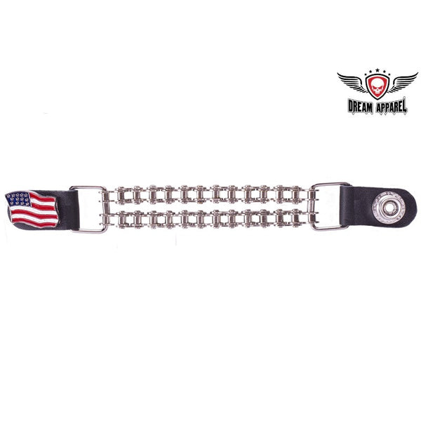 Double Chain American Flag Motorcycle Vest Extender - Club Vest Biker Motorcycle Apparel & Accessories