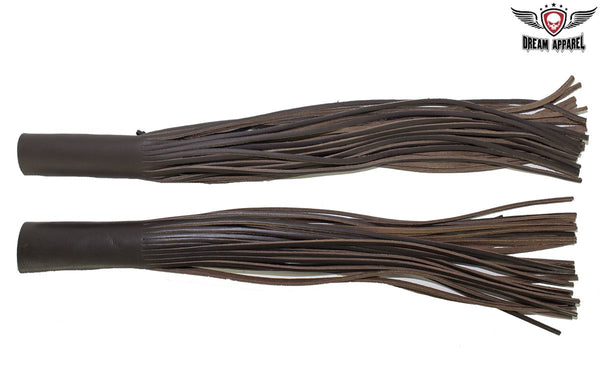 Dark Brown Leather Motorcycle Handlebar Covers with Fringe