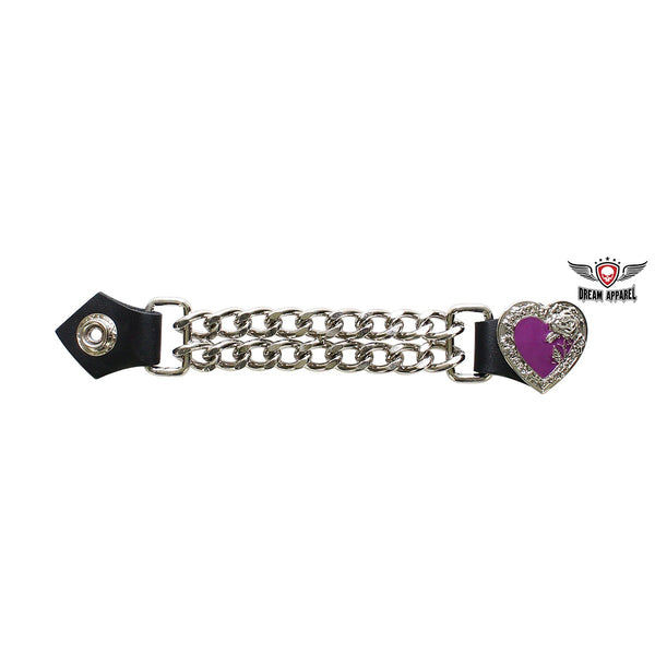 best-motorcyle-vest - Purple Chrome Heart and Rose Vest Extender - Dream Apparel® - vest extenders