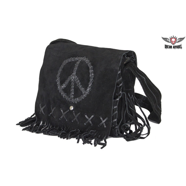Women's Genuine Black Suede Pocketbook with Peace Sign